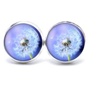 Druckknopf / Ohrstecker / Ohrhänger große Pusteblume in blau