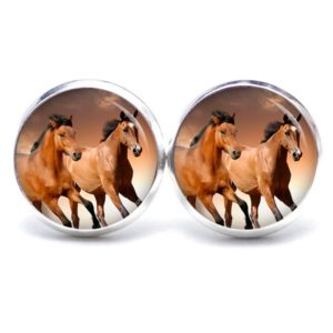 Druckknopf / Ohrstecker / Ohrhänger Pferd braune Pferde rennende Pferde