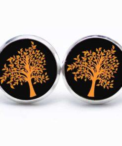 Druckknopf / Ohrstecker / Ohrhänger  oranger Baum