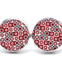 Druckknopf / Ohrstecker / Ohrhänger 60er Jahre Muster Rot Schwarz Weiß