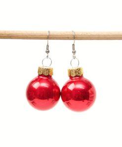 Weihnachtliche Christbaumkugel Ohrhänger Groß in rot - Edelstahl