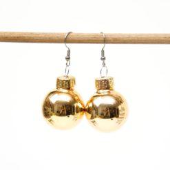 Weihnachtliche Christbaumkugel Ohrhänger Gold - Edelstahl