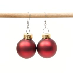 Weihnachtliche Christbaumkugel Ohrhänger Rot matt - Edelstahl