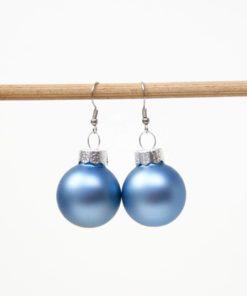 Weihnachtliche Christbaumkugel Ohrhänger Blau Matt - Edelstahl