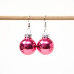 Weihnachtliche Christbaumkugel Ohrhänger Rosarot - Edelstahl