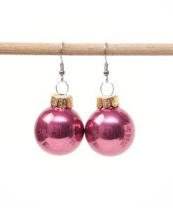 Weihnachtliche Christbaumkugel Ohrhänger Dunkel Magenta - Edelstahl