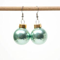 Weihnachtliche Christbaumkugel Ohrhänger Türkisgrün - Edelstahl
