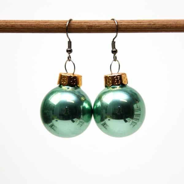 Weihnachtliche Christbaumkugel Ohrhänger Gold Matt - Edelstahl