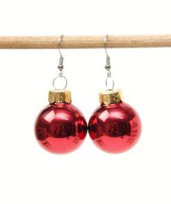 Weihnachtliche Christbaumkugel Ohrhänger Dunkelrot - Edelstahl
