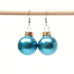Weihnachtliche Christbaumkugel Ohrhänger Türkisblau - Edelstahl
