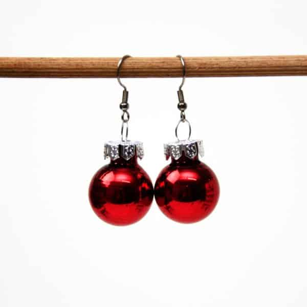 Rote Weihnachtliche Christbaumkugel Ohrhänger Groß - Edelstahl