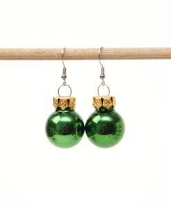 Weihnachtliche Christbaumkugel Ohrhänger Rot Matt - Edelstahl - Klein