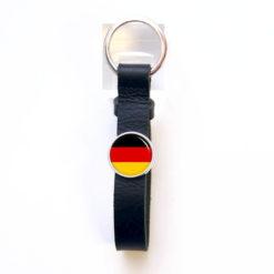 Schlüsselanhänger aus schwarzem Leder mit blauem Anker