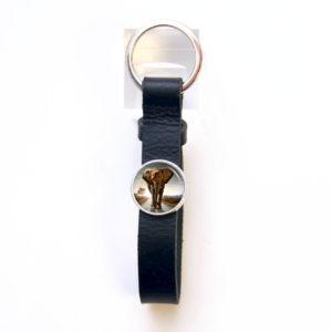 Schlüsselanhänger Leder schwarz Elefant