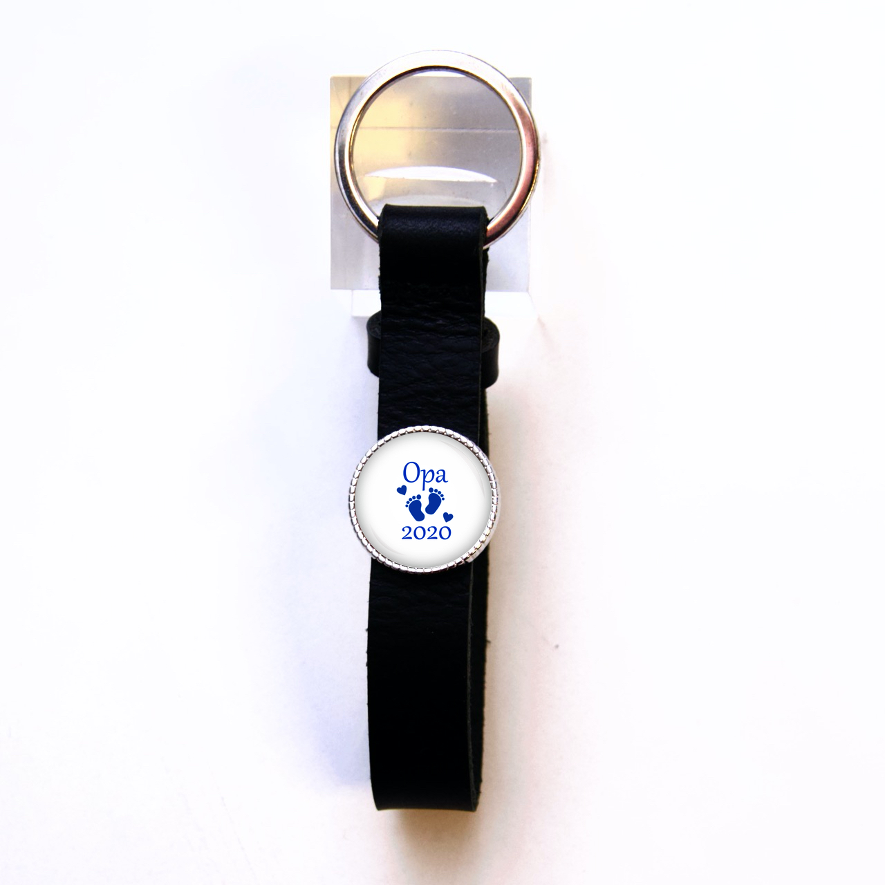 Schlüsselanhänger Leder schwarz Opa 2020