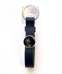 Schlüsselanhänger aus schwarzem Leder Pusteblume