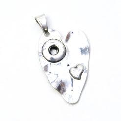Druckknopf Anhänger Herz mit Herz für 10mm Druckknopf