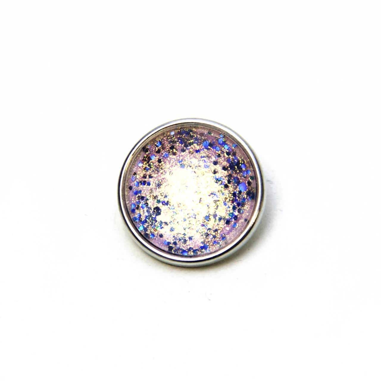 Druckknopf handbemalt Discofever blau rosa glitzernd