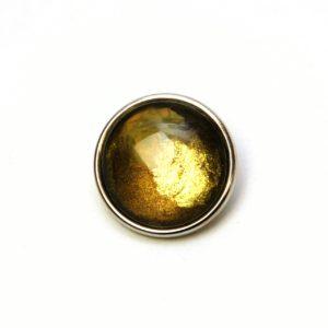 Druckknopf handbemalt in olive grün gold gelb