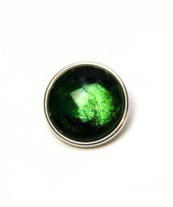 Druckknopf handbemalt in dunkelgrün mit schwarz
