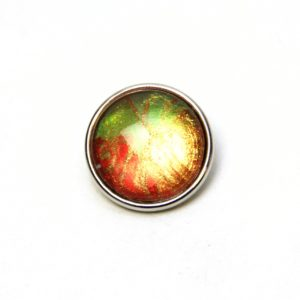Druckknopf handbemalt in hellgrün kupferbraun gold