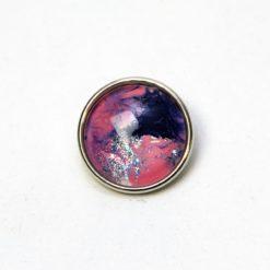 Druckknopf handbemalt in rosa dunkelblau und silber mit Glitzer
