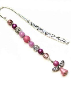 Lesezeichen Engel in zartem lila mit ornament Perlen