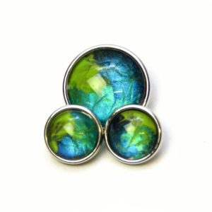 Druckknopf handbemalt in grün blau türkis marmoriert