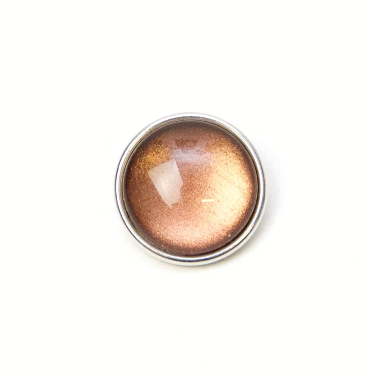 Druckknopf handbemalt in uni Farben braun schimmernd