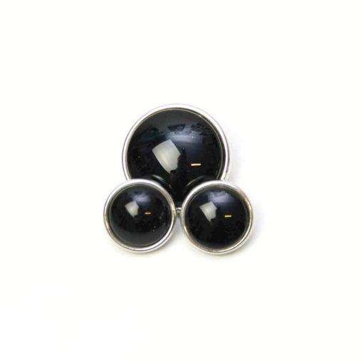 Druckknopf handbemalt in uni Farben schwarz