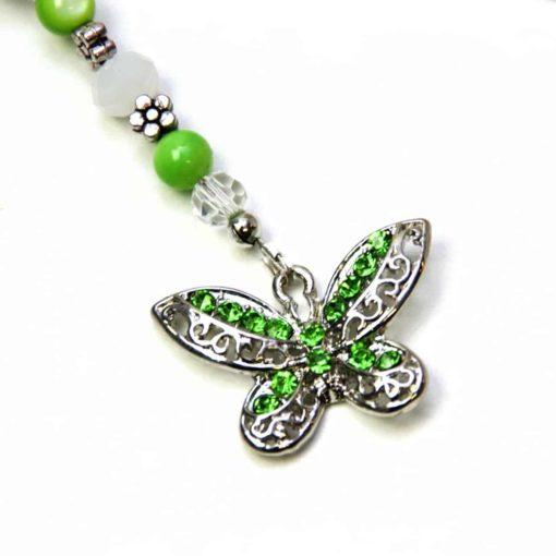 Lesezeichen grüner Schmetterling mit Straßsteinen