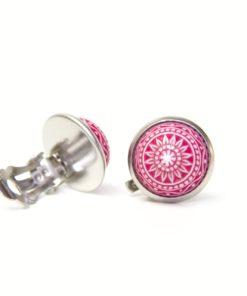 12mm Mosaik Ohrclip Klipse in himbeere pink - Edelstahl