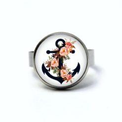 Edelstahl Ring blauer Anker mit Rosen in lachs Farbe - maritim - verschiedene Größen