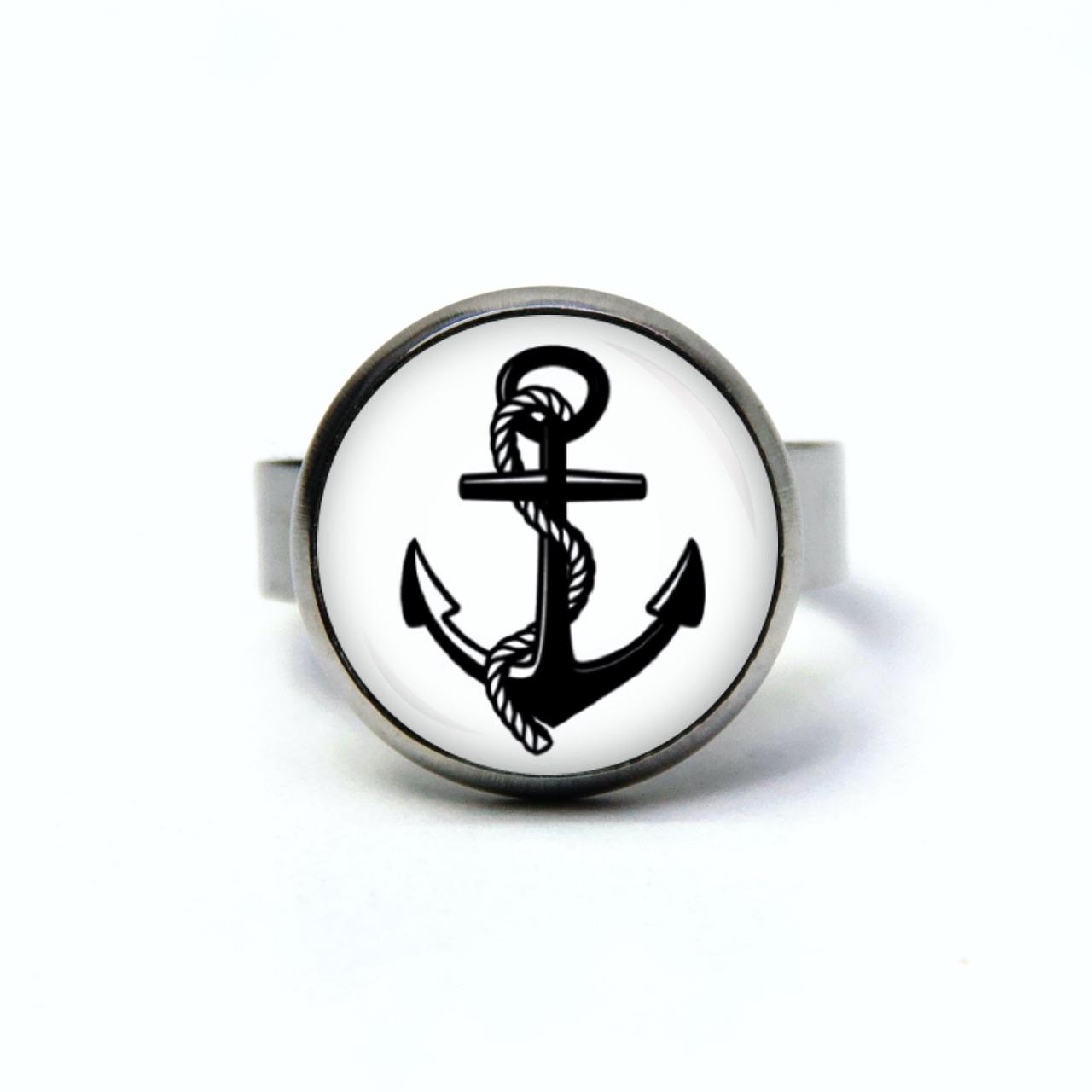 Edelstahl Ring maritim schwarzer Anker - verschiedene Größen
