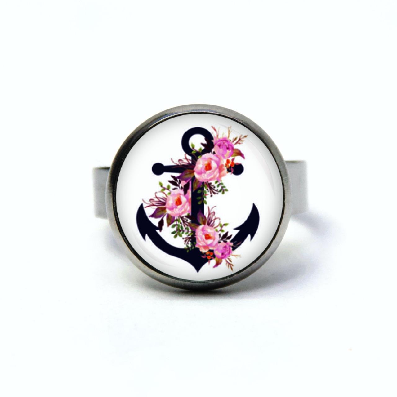 Maritimer Edelstahl Ring blauer Anker mit rosa Rosen - verschiedene Größen