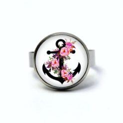 Maritimer Edelstahl Ring schwarzer Anker mit rosa Rosen - verschiedene Größen