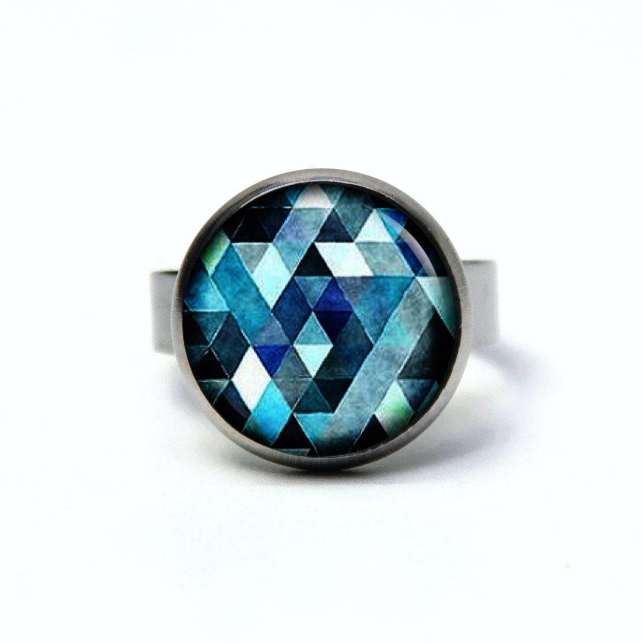 Edelstahl Ring blau Mosaik Mandala Rauten Kaleidoskop - verschiedene Größen