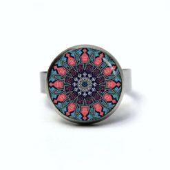 Edelstahl Ring Muster Mandala Mosaik in blau und rosa - verschiedene Größen