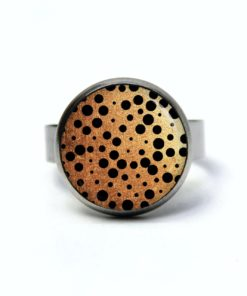 Edelstahl Ring Gold mit schwarzen Punkten Tupfen Polkadots - verschiedene Größen