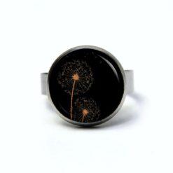 Edelstahl Ring mit goldener Pusteblume auf schwarz - verschiedene Größen