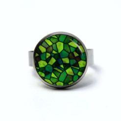 Edelstahl Ring Mosaik Glasmosaik Muster grün dunkelgrün - verschiedene Größen
