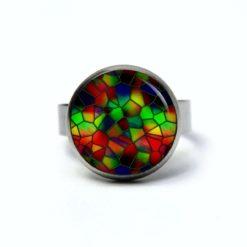 Edelstahl Ring Mosaik Glasmosaik Muster kunterbunt - verschiedene Größen