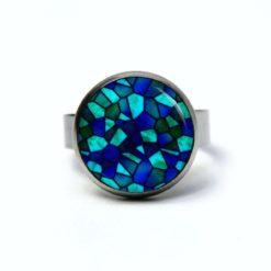 Edelstahl Ring Mosaik Glasmosaik Muster blau hellblau - verschiedene Größen