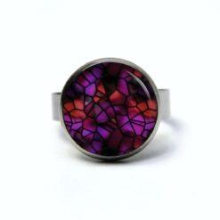 Edelstahl Ring Mosaik Glasmosaik Muster violett - verschiedene Größen