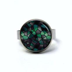 Edelstahl Ring Mosaik Glasmosaik Muster emerald schwarz grün - verschiedene Größen
