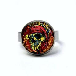 Edelstahl Ring Totenkopf Pirat rot gelb - verschiedene Größen