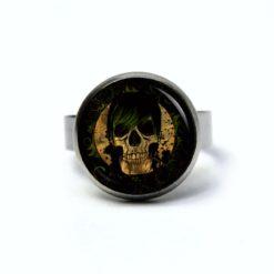 Edelstahl Ring Totenkopf mit grünem Haar - verschiedene Größen