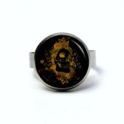 Edelstahl Ring Totenkopf aus dem Feuer Gold schwarz - verschiedene Größen