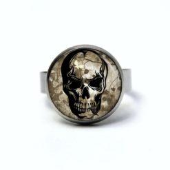 Edelstahl Ring großer Totenkopf grau schwarz - verschiedene Größen