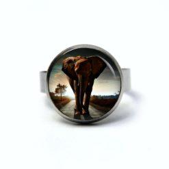 Edelstahl Ring mit großem Elefanten - verschiedene Größen